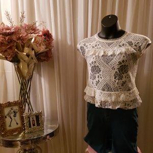 Ruffled lace babydoll shirt
